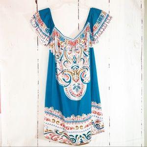 FLYING TOMATO | Turquoise Boho Print Mini Dress S